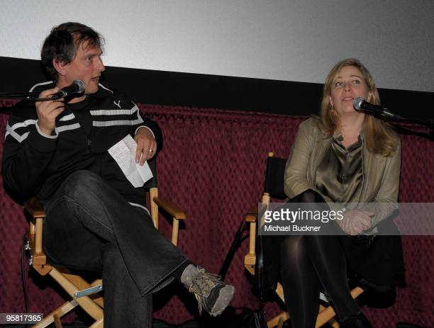 Writer Jeremy Kay of Screen International and director Lone Scherfig speak at the screening of An Education at the 2010 Palm Springs International...