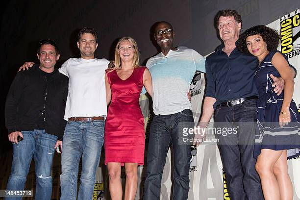 Writer JH Wyman actors Joshua Jackson Anna Torv Lance Reddick John Noble and Jasika Nicole attend the 'Fringe' panel at ComicCon International at San...