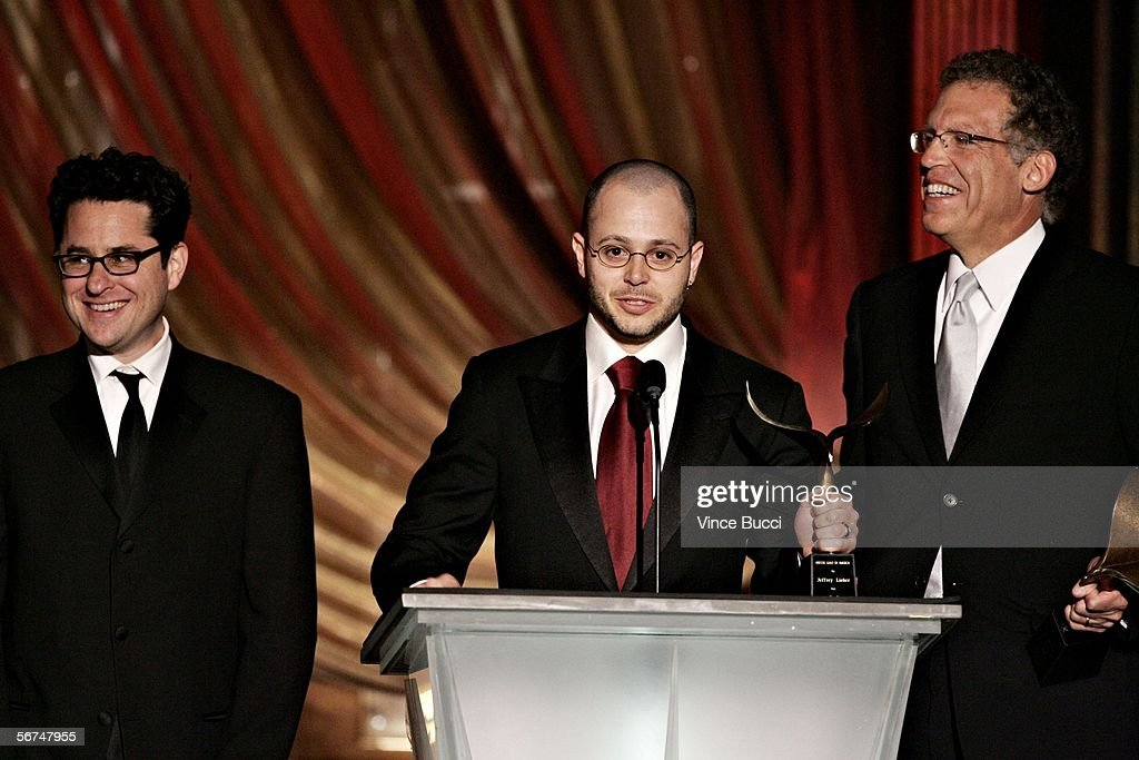 Writer J.J. Abrams, 'Lost' show creator/Executive Producer Damon Lindelof, Executive Producer Carlton Cuse accept the Television Dramatic Series award for 'Lost' onstage during the 2006 Writers Guild Awards held at The Hollywood Palladium on February 4, 2006 in Hollywood, California.