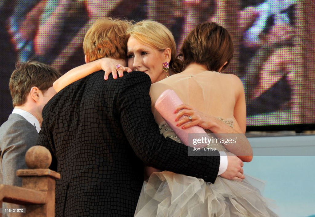 Writer J.K. Rowling, actress Emma Watson and actor Rupert Grint attend the 'Harry Potter And The Deathly Hallows Part 2' world premiere at Trafalgar Square on July 7, 2011 in London, England.