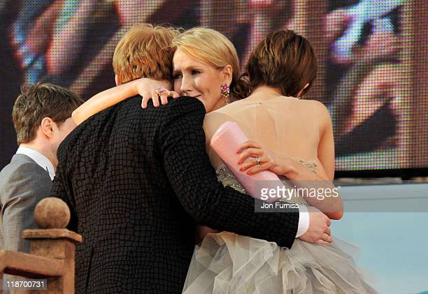 Writer JK Rowling actress Emma Watson and actor Rupert Grint attend the 'Harry Potter And The Deathly Hallows Part 2' world premiere at Trafalgar...