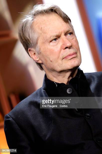 Writer JMG Le Clezio poses during Tv talk show La Grande Librairie on France 5 presented by Francois Busnel in Paris France on