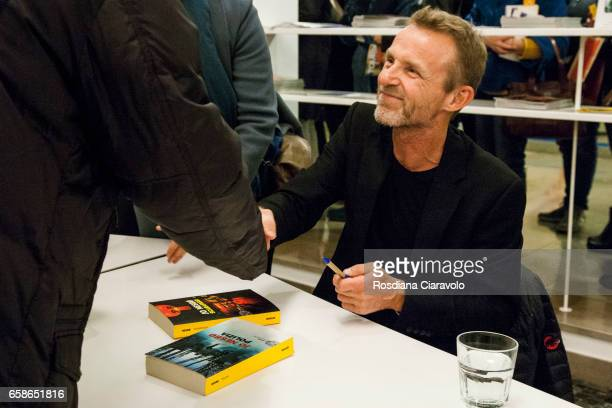 Writer Jo Nesbo signs his novel 'Sete' at Teatro Elfo Puccini on March 27 2017 in Milan Italy
