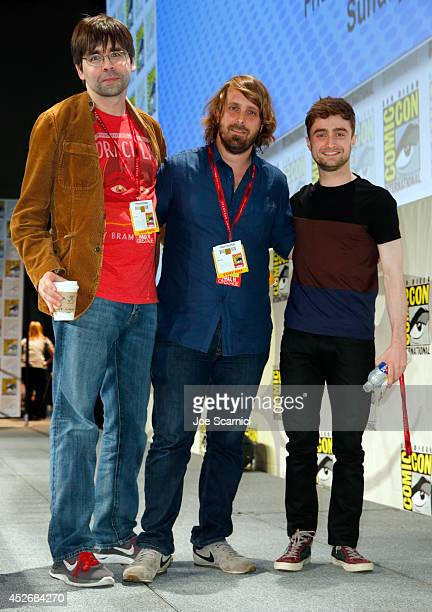 Writer Joe Hill director Alexandre Aja and actor Daniel Radcliffe attend RADiUSTWC Horns Everly panels during ComicCon International 2014 at San...