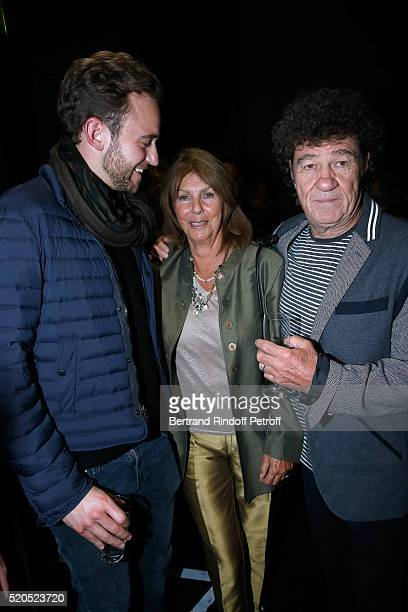 Writer Joel Dicker with Robert Charlebois and his wife Laurence pose after the Robert Charlebois 50 ans 50 chansons Concert at Bobino on April 11...
