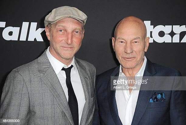 Writer John Ames and actor Patrick Stewart arrive for the Premiere Of STARZ Blunt Talk held at DGA Theater on August 10 2015 in Los Angeles California