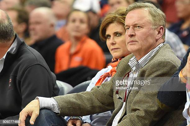 Writer John Grisham looks on during a college basketball game between the Virginia Cavaliers and the Virginia Tech Hokies at John Paul Jones Arena on...