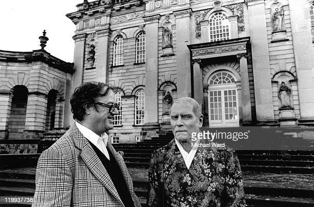 Writer John Mortimer and actor Laurence Olivier at Castle Howard during the filming of television series 'Brideshead Revisited', 1979.