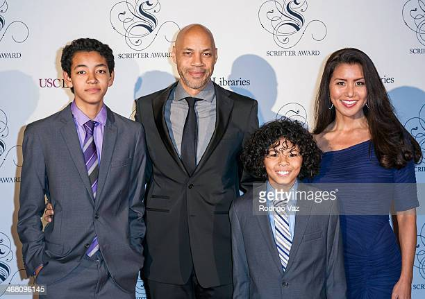 Writer John Ridley and family attend the the USC Libraries 26th Annual Scripter Awards at USC on February 8 2014 in Los Angeles California