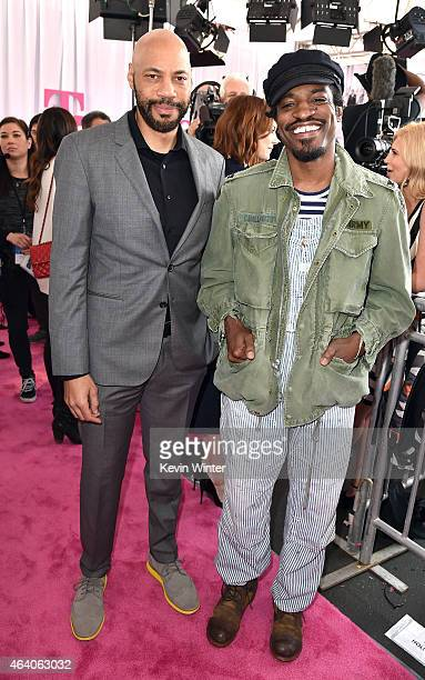 Writer John Ridley and Hiphop artist Andre 3000 attend the 2015 Film Independent Spirit Awards at Santa Monica Beach on February 21 2015 in Santa...