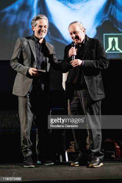 Writer Jonathan Lethem and Italian Director Dario Argento attend The Raymond Chandler Award 2019 ceremony on December 07 2019 in Como Italy