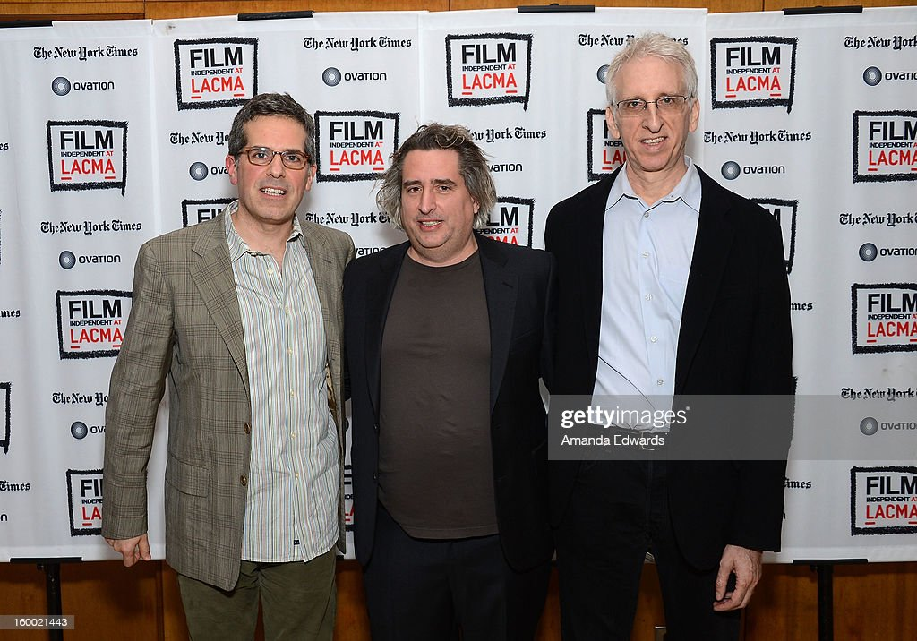 Writer Jonathan Lethem, photographer Gregory Crewdson and director Ben Shapiro attend the Film Independent screening of Gregory Crewdson: Brief Encounters at the Bing Theatre At LACMA on January 24, 2013 in Los Angeles, California.