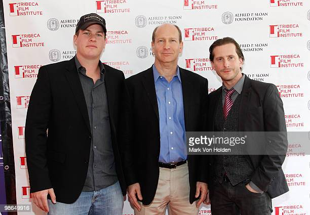 Writer Jonathan Nolan Alfred P Sloan Foundation's Doron Weber and Aaron Ryder attend the 10th Anniversary Panel Discussion of ''Memento'' during the...