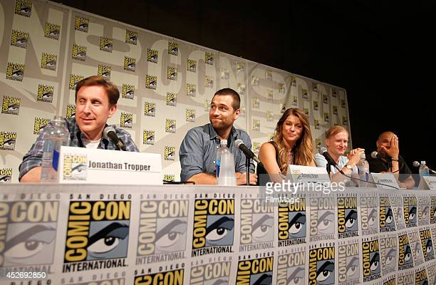 Writer Jonathan Tropper actor Antony Starr actress Ivana Milicevic actor Ulrich Thomsen and actor Geno Segers speak on stage at the Cinemax Banshee...