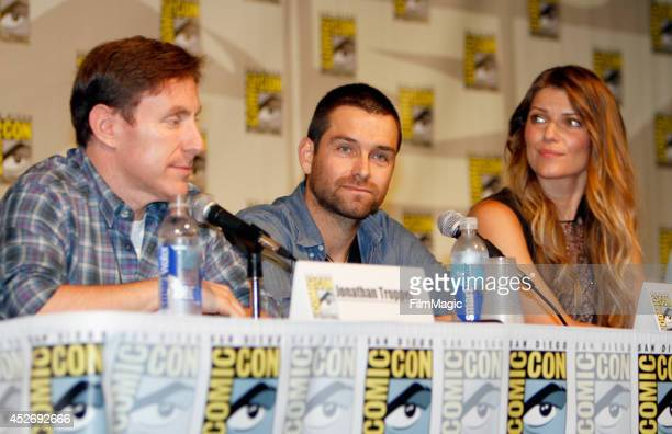 Writer Jonathan Tropper actor Antony Starr and actress Ivana Milicevic speak on stage at the Cinemax Banshee Panel during ComicCon 2014 on July 25...