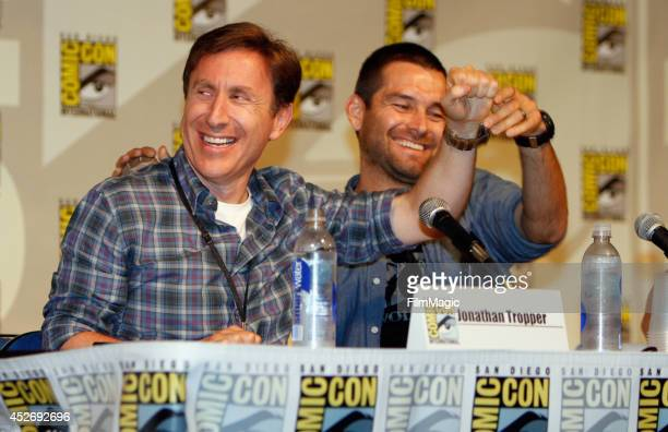 Writer Jonathan Tropper and actor Antony Starr speak on stage at the Cinemax Banshee Panel during ComicCon 2014 on July 25 2014 in San Diego...