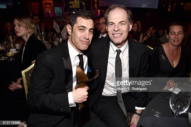 Writer Josh Singer and guest on stage during the 2016 Writers Guild Awards at the Hyatt Regency Century Plaza on February 13 2016 in Los Angeles...