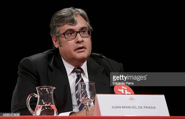 Writer Juan Manuel de Prada attends 'Morir bajo tu cielo' book presentation at Cervantes Institute on October 2 2014 in Madrid Spain