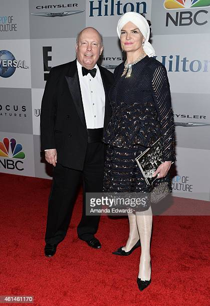 Writer Julian Fellowes and Emma Joy Kitchener arrive at NBCUniversal's 72nd Annual Golden Globes After Party at The Beverly Hilton Hotel on January...