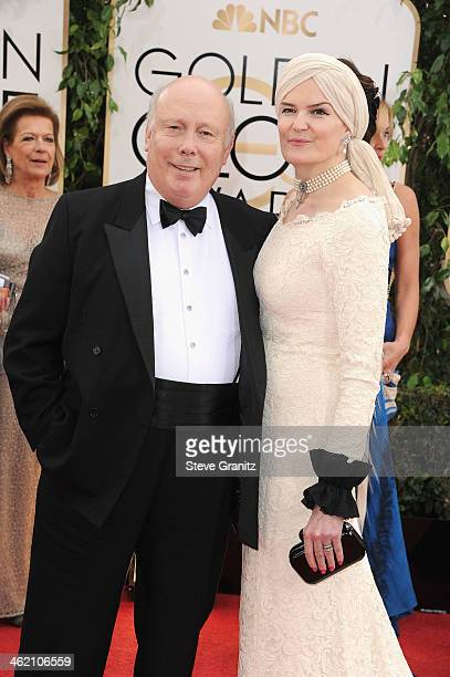 Writer Julian Fellowes and Emma KitchenerFellowes attends the 71st Annual Golden Globe Awards held at The Beverly Hilton Hotel on January 12 2014 in...