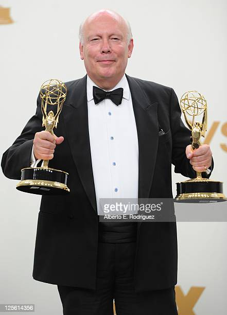 Writer Julian Fellowes poses in the press room during the 63rd Annual Primetime Emmy Awards held at Nokia Theatre LA LIVE on September 18 2011 in Los...