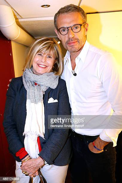 Writer Katherine Pancol and Main guest of the show actor Lambert Wilson attend the 'Vivement Dimanche' French TV Show Held at Pavillon Gabriel on...