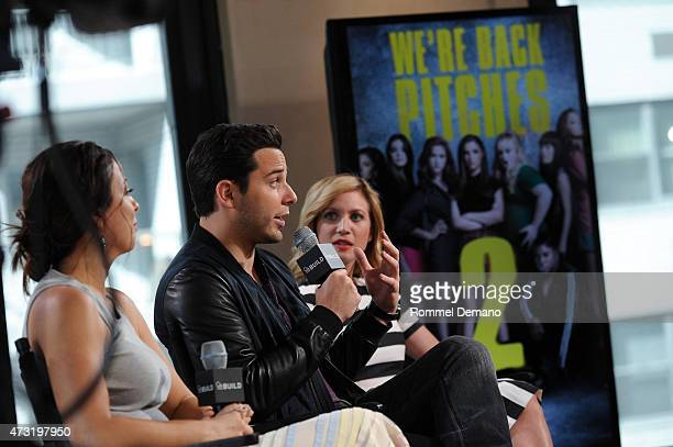 Writer Kay Cannon Skylar Astin and Brittany Snow visit AOL Build at AOL Studios In New York on May 13 2015 in New York City