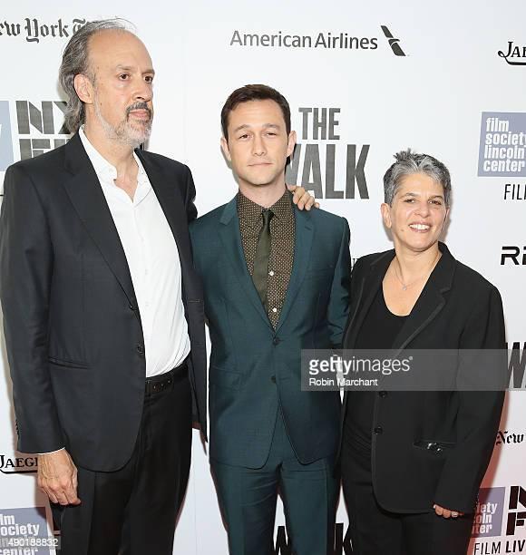 Writer Kent Jones actor Joseph GordonLevitt and Executive Director at Film Society of Lincoln Center Lesli Klainberg attends the Opening Night Gala...