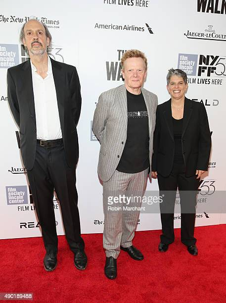 Writer Kent Jones highwire artist Philippe Petit and Executive Director at Film Society of Lincoln Center Lesli Klainberg attend the Opening Night...