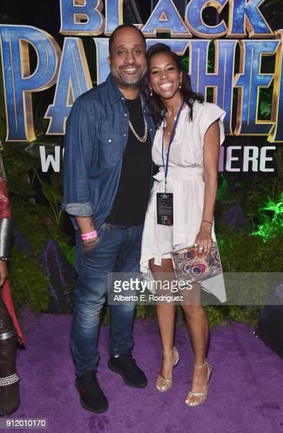 Writer Kenya Barris and guest at the Los Angeles World Premiere of Marvel Studios' BLACK PANTHER at Dolby Theatre on January 29 2018 in Hollywood...