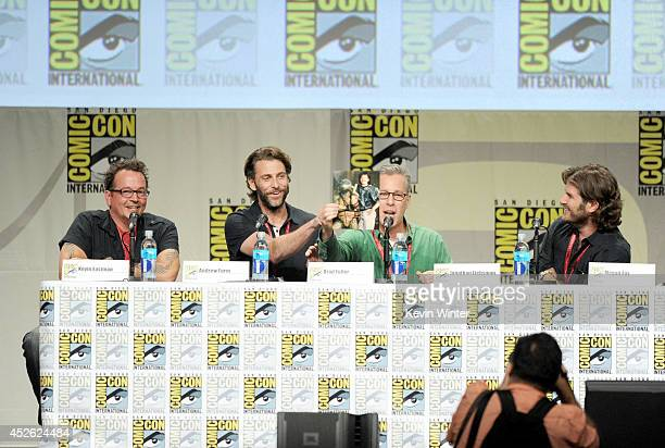 Writer Kevin Eastman producers Andrew Form and Bradley Fuller and director Jonathan Liebesman attend the Paramount Studios presentation during...