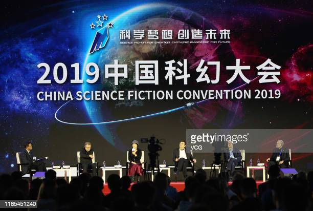 Writer Kevin J Anderson , writer Liu Cixin , 2010 Nobel Physics laureate Andre Geim attend 2019 China Science Fiction Convention at Beijing Garden...