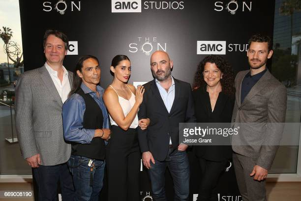 Writer Kevin Murphy actor Zahn McClarnon actress Paola Nunez show creator Philipp Meyer writer Debra Birnbaum and actor Henry Garrett attend AMC's...