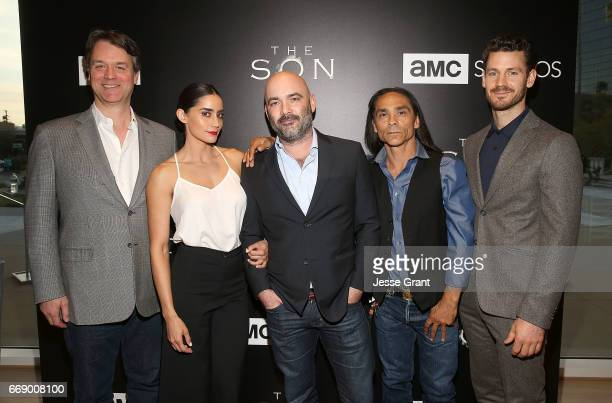 Writer Kevin Murphy actress Paola Nunez show creator Philipp Meyer actor Zahn McClarnon and actor Henry Garrett attend AMC's 'The Son' FYC Screening...
