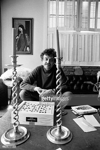 Writer Kurt Vonnegut at home on April 12, 1972 in New York, New York.