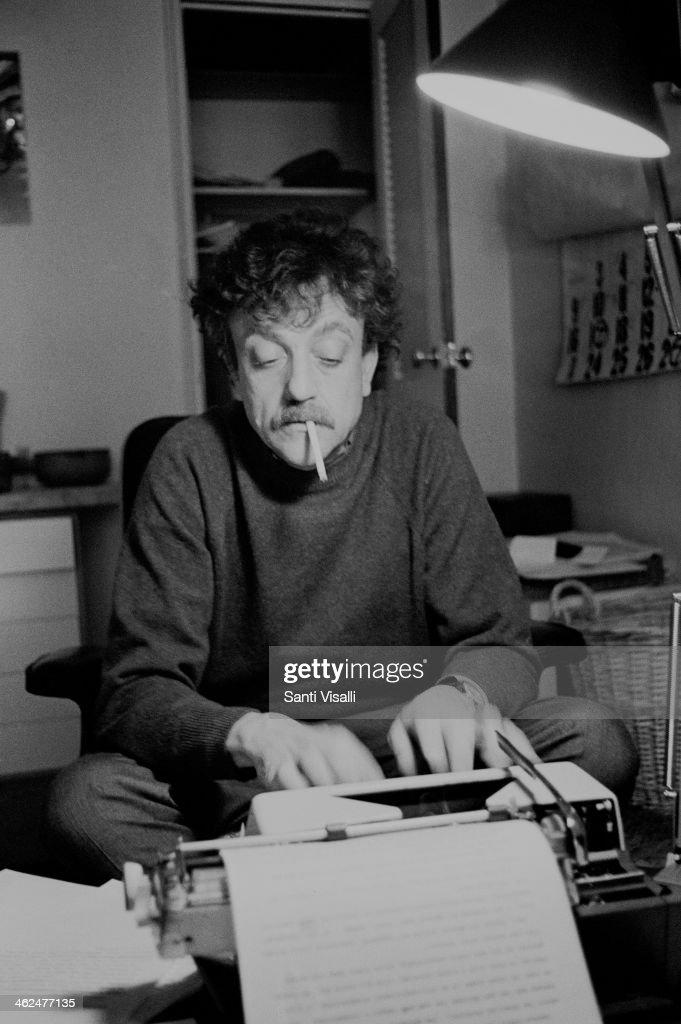 Writer Kurt Vonnegut At Home : News Photo