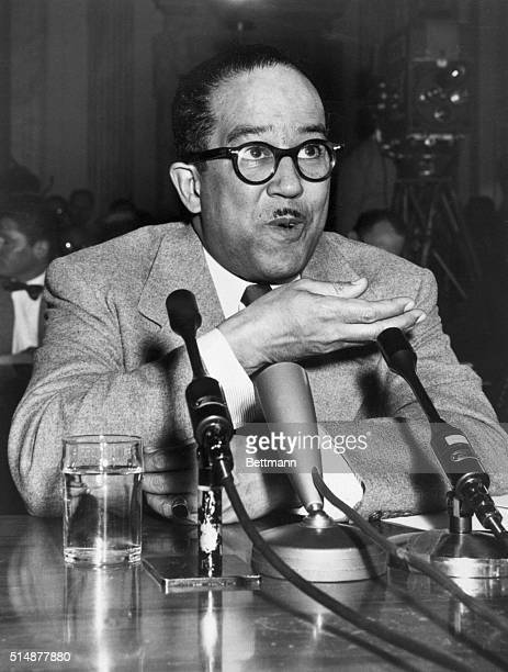 Writer Langston Hughes testifies before the Senate Investigations Sub-committee.