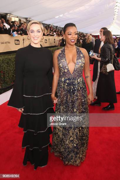 Writer Lauren Morelli and actor Samira Wiley attend the 24th Annual Screen ActorsGuild Awards at The Shrine Auditorium on January 21 2018 in Los...