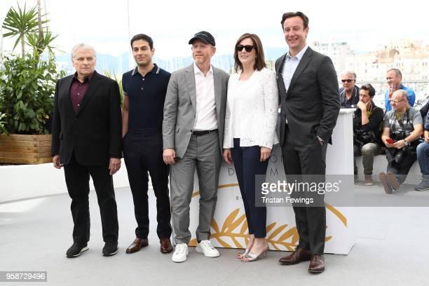 Writer Lawrence Kasdan screenwriter Jonathan Kasdan director Ron Howard producer Kathleen Kennedy and producer Simon Emanuel attend the photocall for...