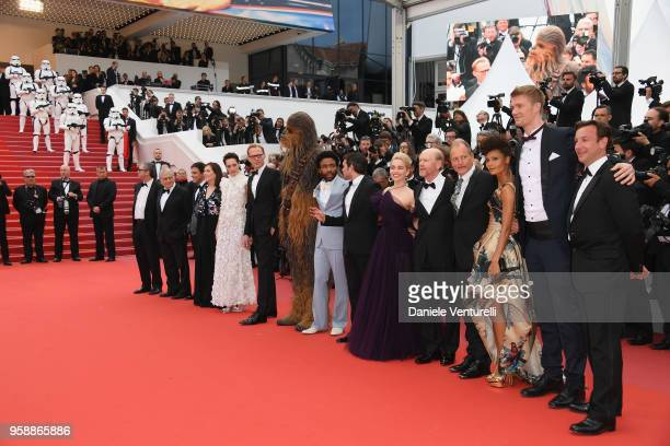 Writer Lawrence Kasdan, Screenwriter Jonathan Kasdan, producer Kathleen Kennedy, actress Phoebe Waller-Bridge, actor Paul Bettany, Chewbacca, actors...