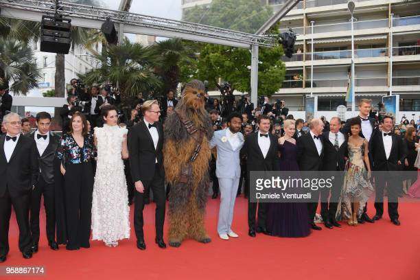 Writer Lawrence Kasdan screenwriter Jonathan Kasdan producer Kathleen Kennedy actress Phoebe WallerBridge actor Paul Bettany Chewbacca actors Donald...