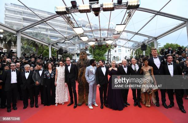 US writer Lawrence Kasdan US writer Jon Kasdan US producer Kathleen Kennedy British actress Phoebe WallerBridge British actor Paul Bettany Chewbacca...