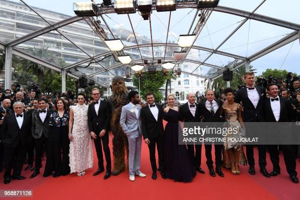 US writer Lawrence Kasdan US writer Jon Kasdan US producer Kathleen Kennedy British actress Phoebe WallerBridge British actor Paul Bettany Chewbacca...