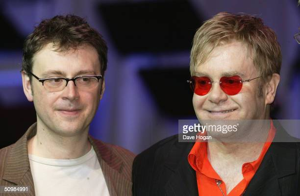"""Writer Lee Hall and Singer Elton John launch """"Billy Elliott - The Musical"""" at the Royal Acedemy of Music, on June 22, 2004 in London."""