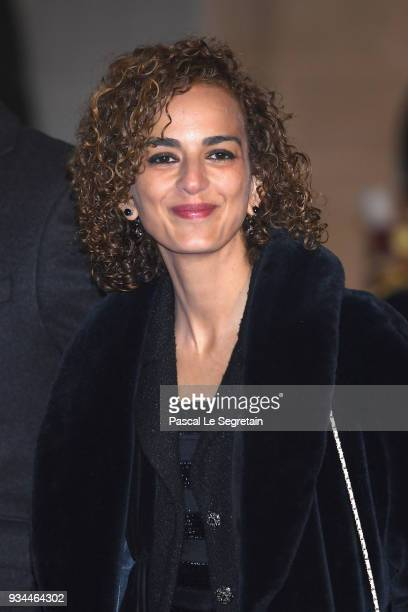 Writer Leila Slimani attends a State dinner hosted by French President Emmanuel Macron and Brigitte Macron at the Elysee Palace on March 19 2018 in...