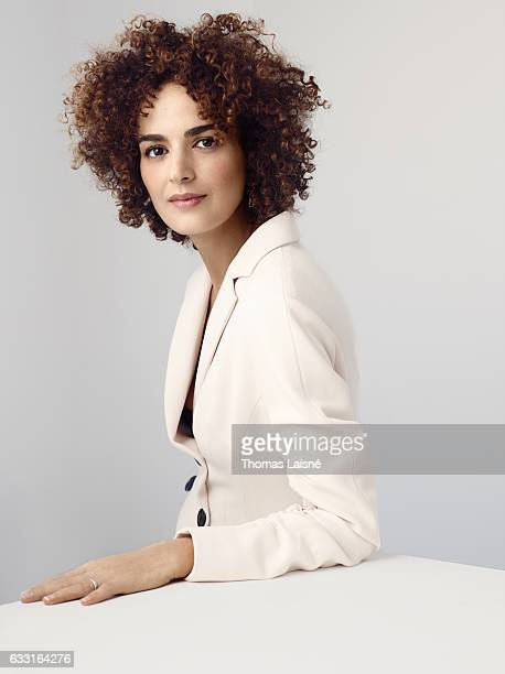 Writer Leila Slimani is photographed for ELLE Magazine on December 6 2016 in Paris France