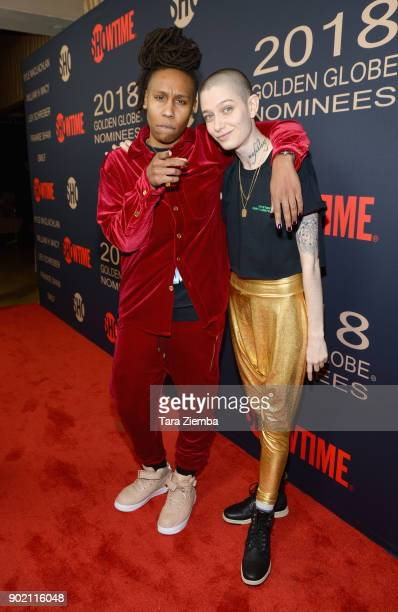 Writer Lena Waithe and Actor Asia Kate Dillon attend the Showtime Golden Globe Nominees Celebration at Sunset Tower on January 6 2018 in Los Angeles...
