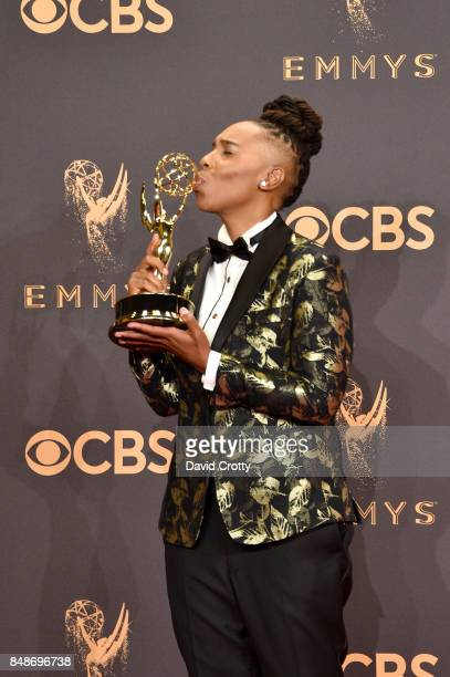 Writer Lena Waithe, co-winner of the Outstanding Writing for a Comedy Series award for 'Master of None,' poses in the press room during the 69th...