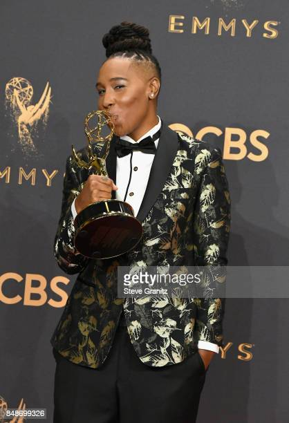 Writer Lena Waithe winner of the award for Outstanding Writing for a Comedy Series for 'Master of None' poses in the press room during the 69th...