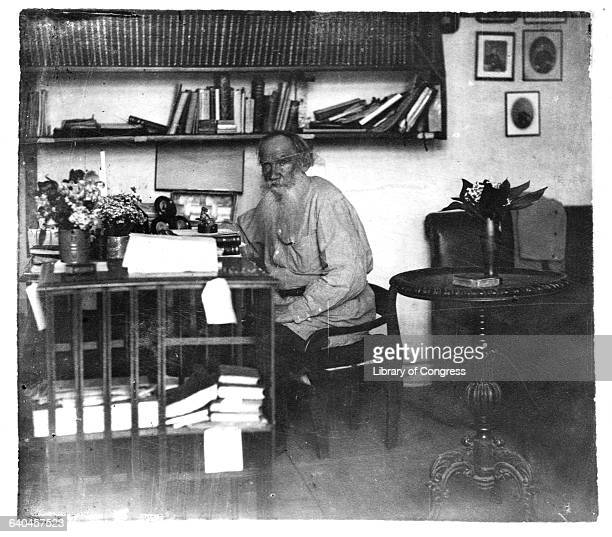 Writer Leo Tolstoy Sitting at Desk in His Study